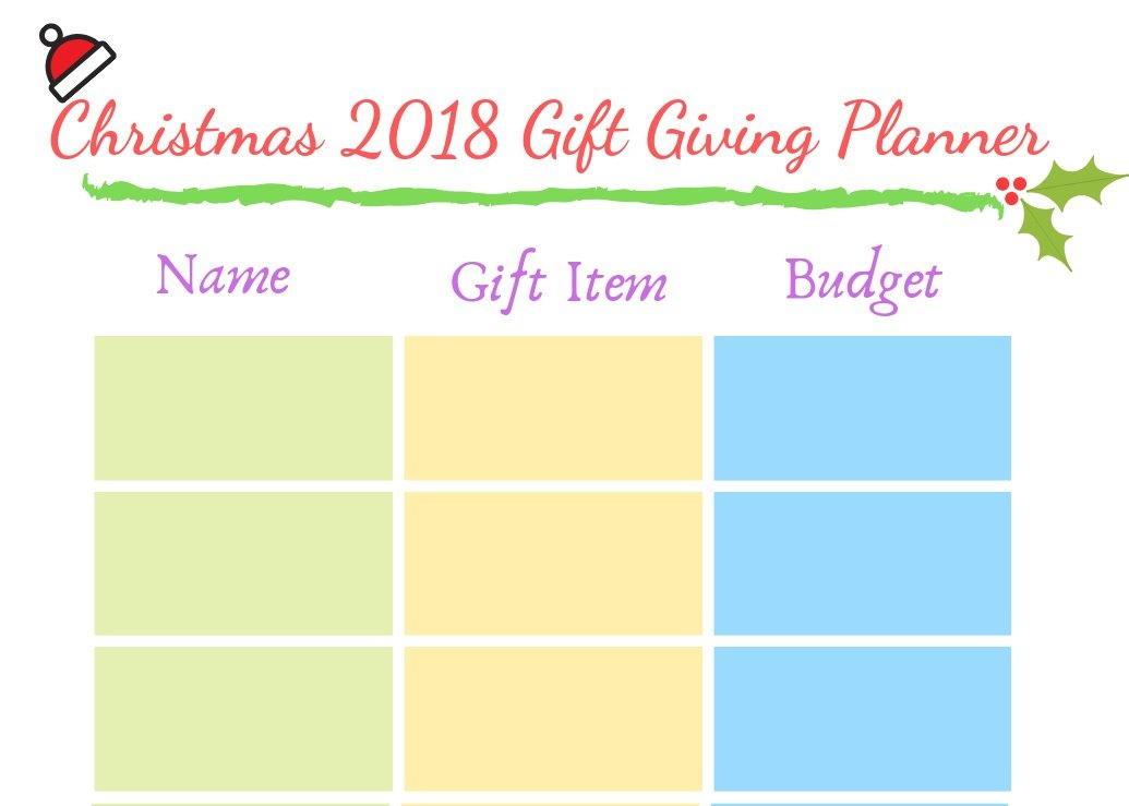 Christmas 2018 Gift Giving Planner Free Printable, Mom Finance Blog